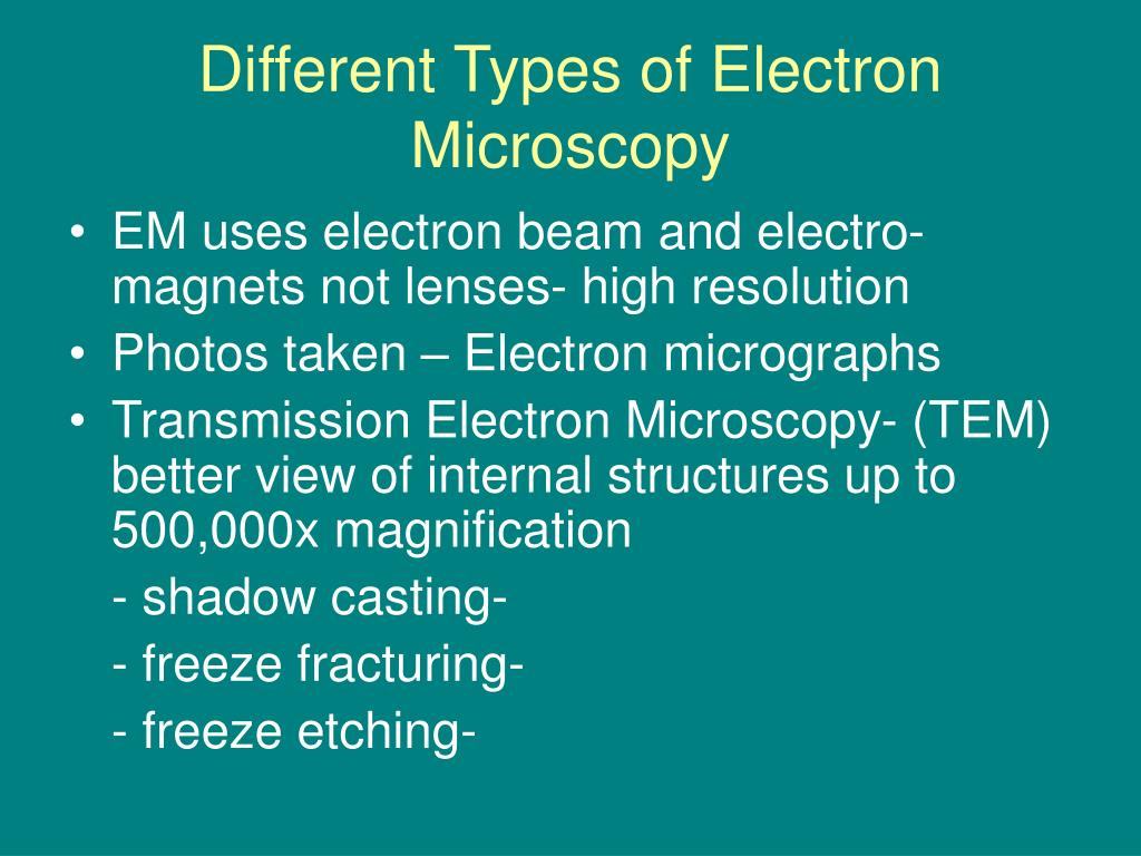 Different Types of Electron Microscopy