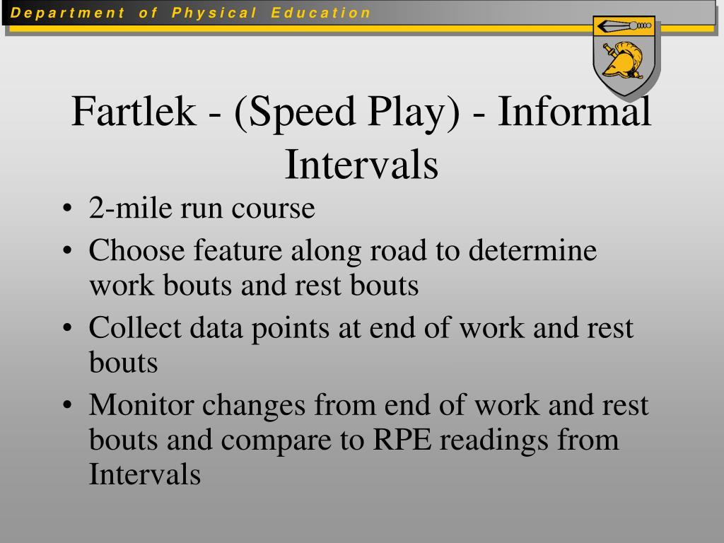 Fartlek - (Speed Play) - Informal