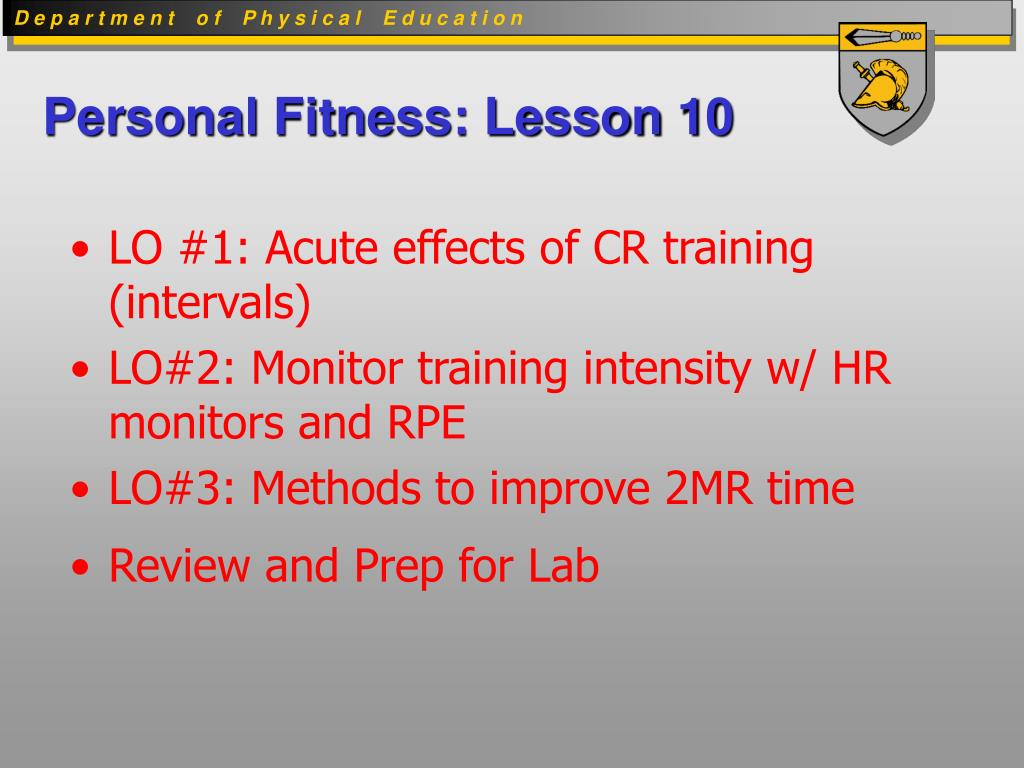 Personal Fitness: Lesson 10