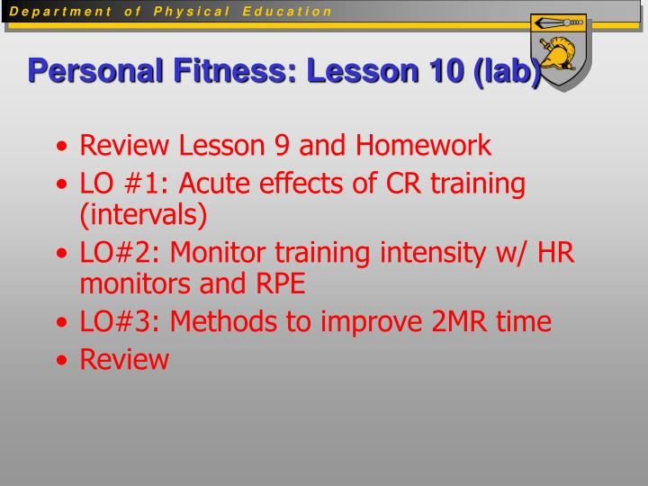 Personal fitness lesson 10 lab