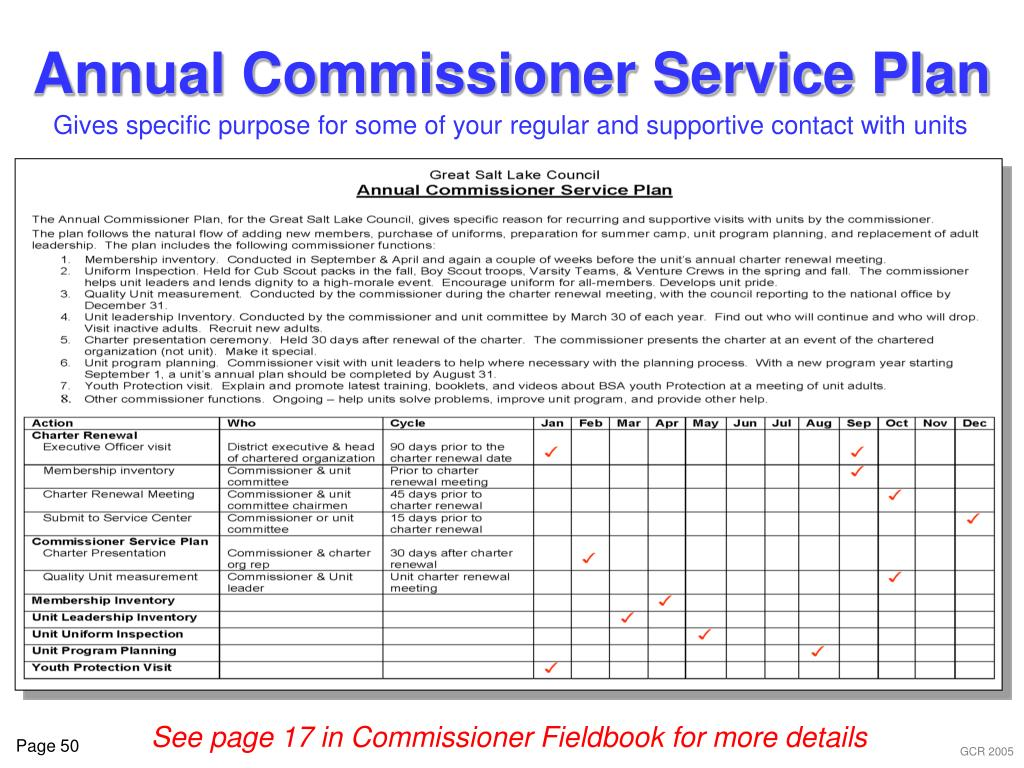 Annual Commissioner Service Plan