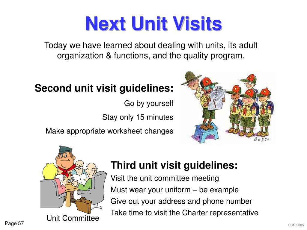 Second unit visit guidelines: