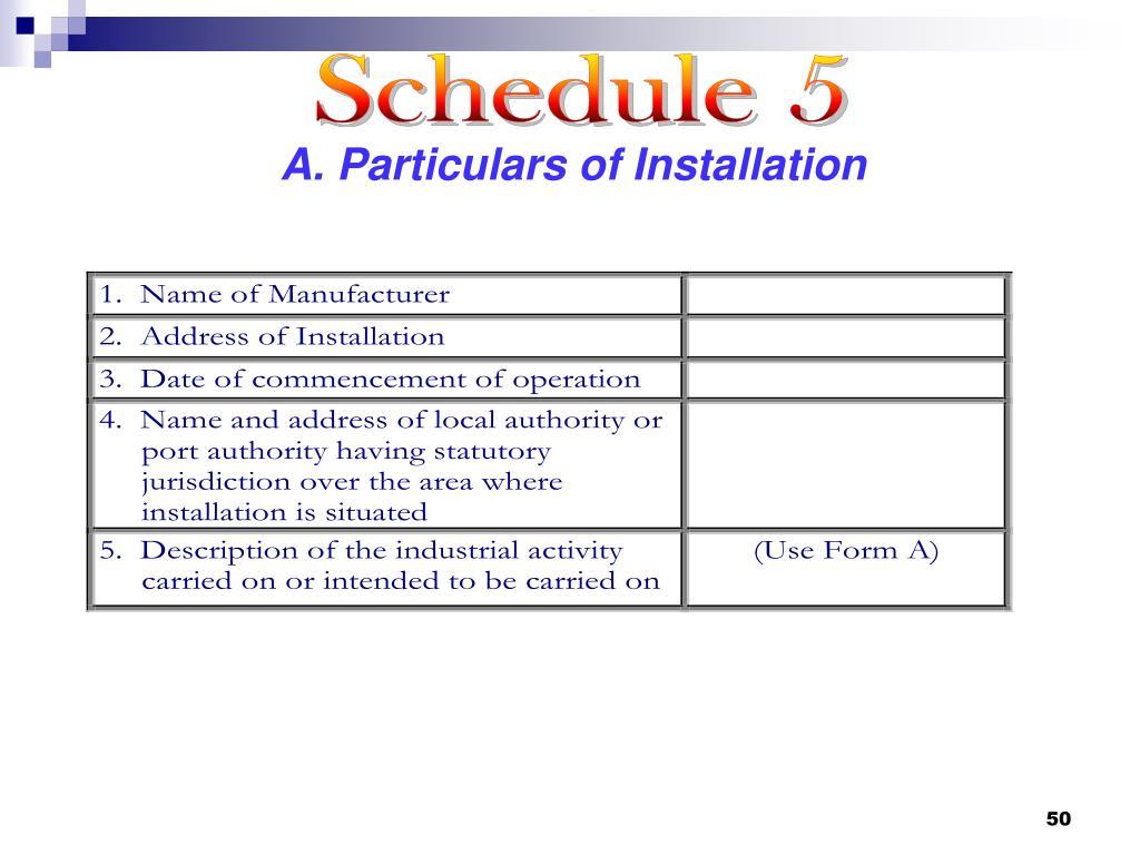 Schedule 5