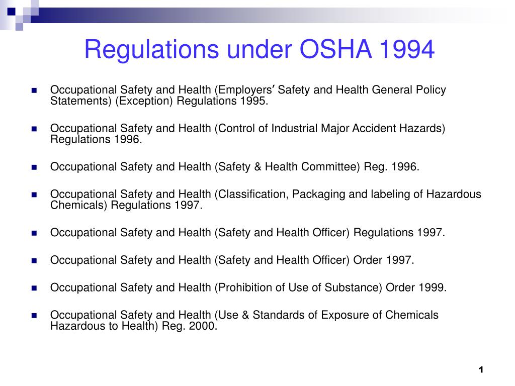 Regulations under OSHA 1994