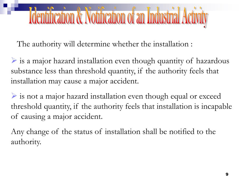 Identification & Notification of an Industrial Activity