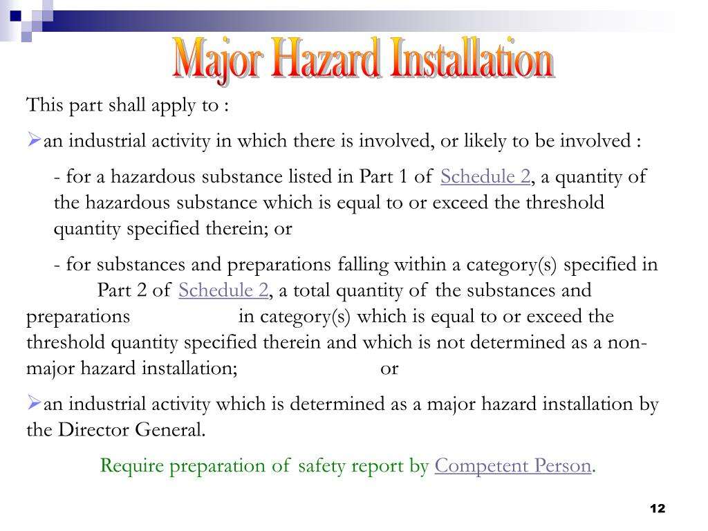 Major Hazard Installation