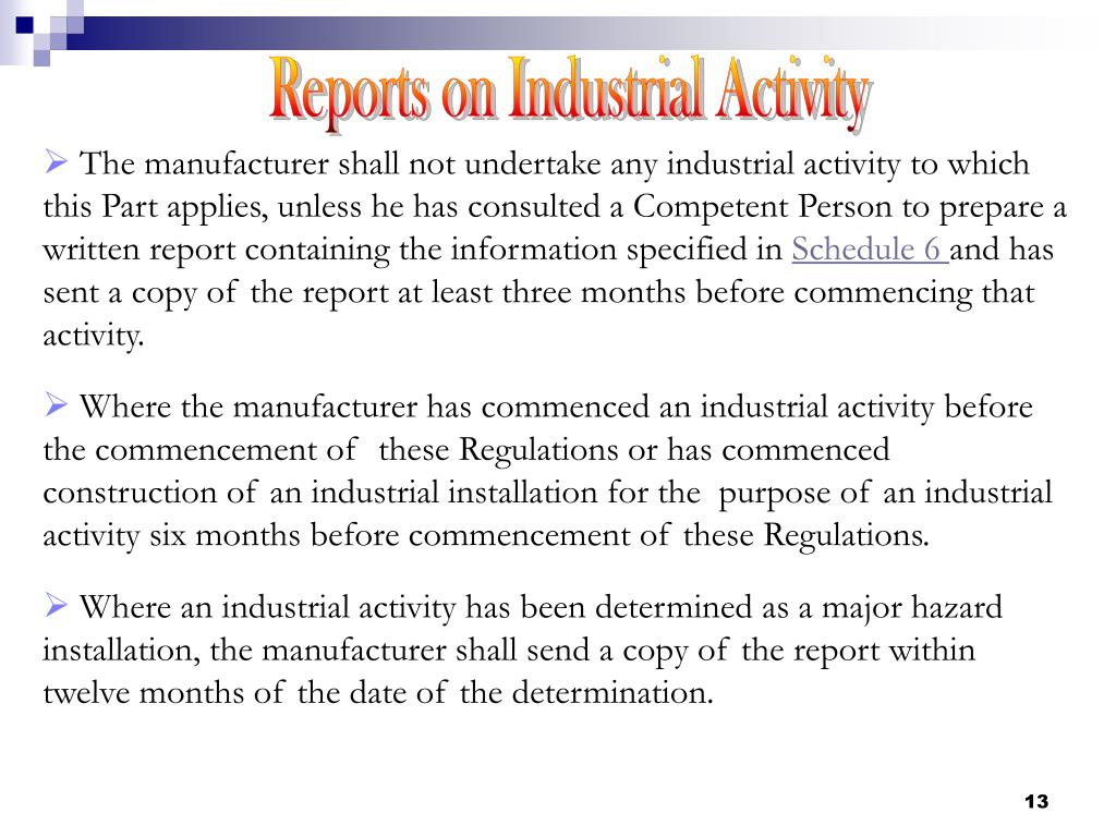 Reports on Industrial Activity