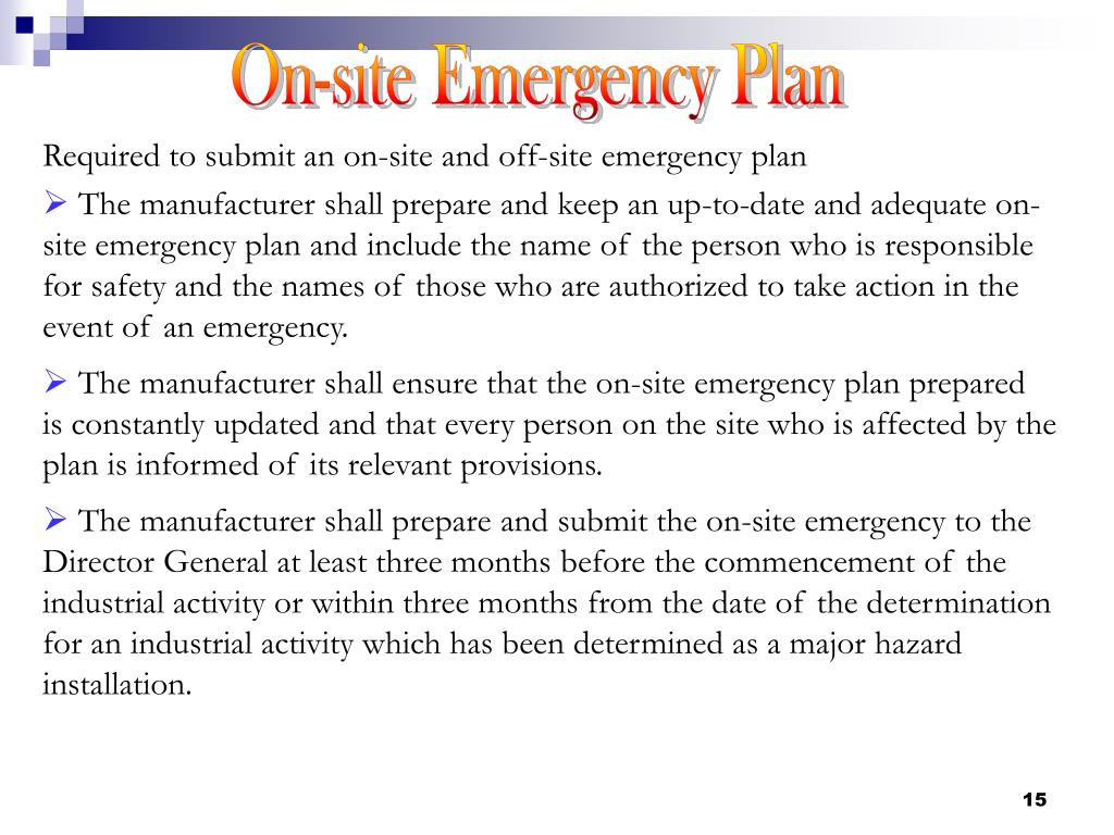 On-site Emergency Plan