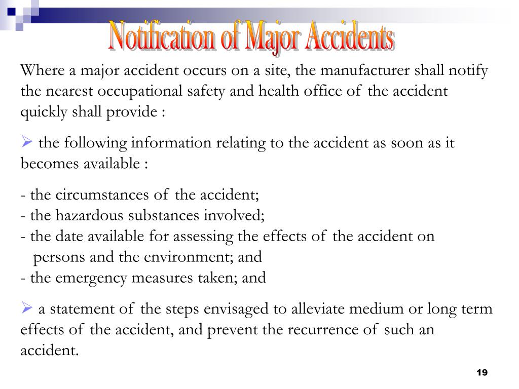 Notification of Major Accidents