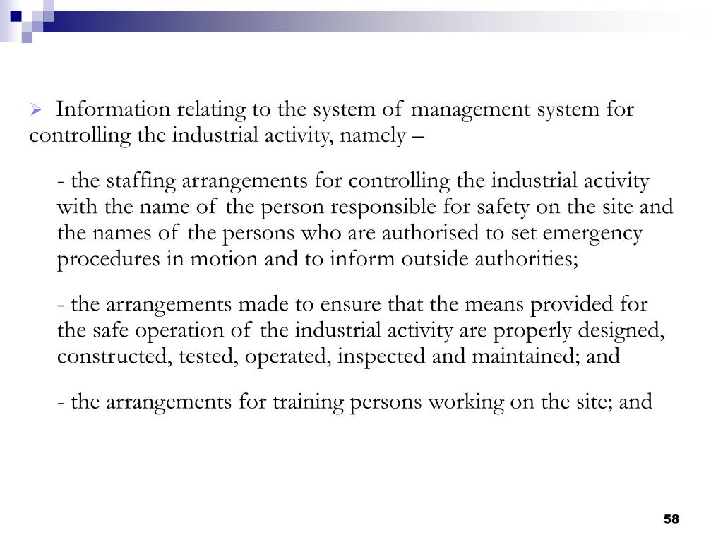 Information relating to the system of management system for controlling the industrial activity, namely –
