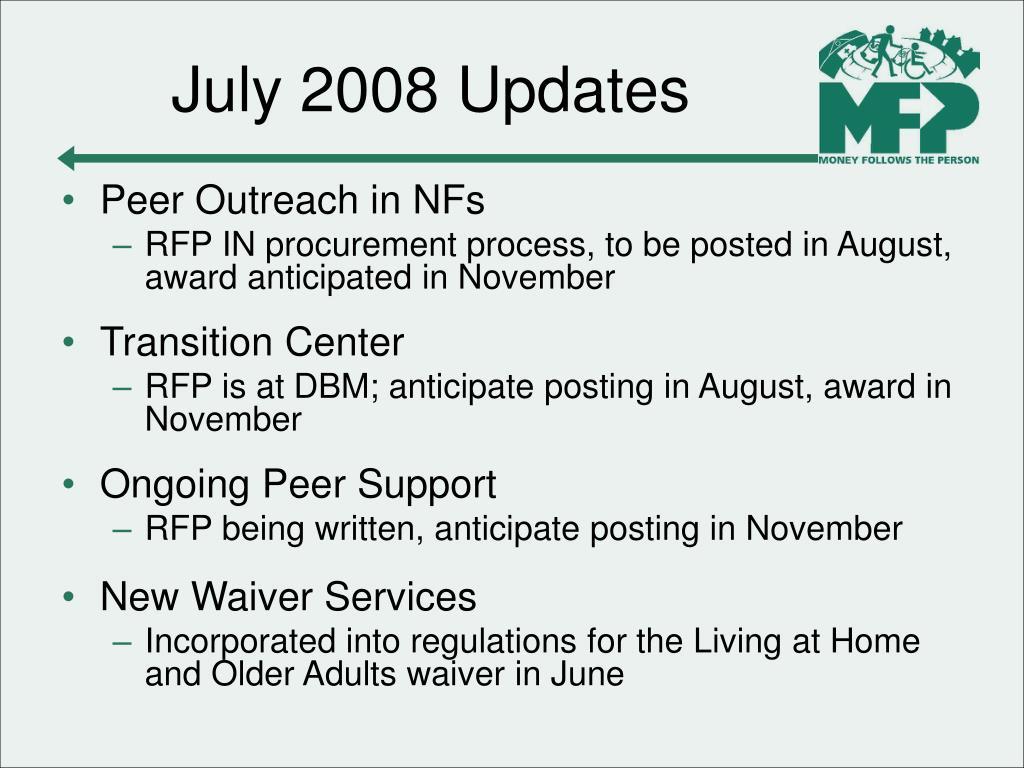 July 2008 Updates
