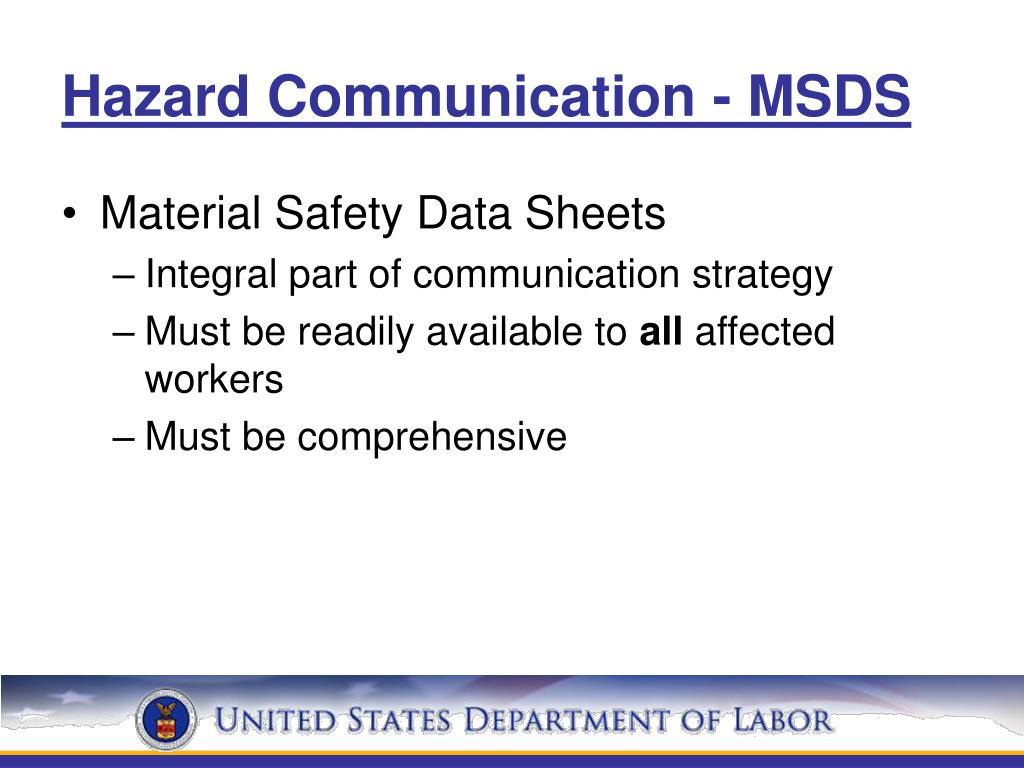 Hazard Communication - MSDS
