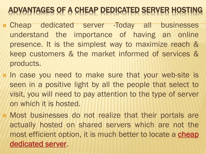 Advantages of a cheap dedicated server hosting l.jpg