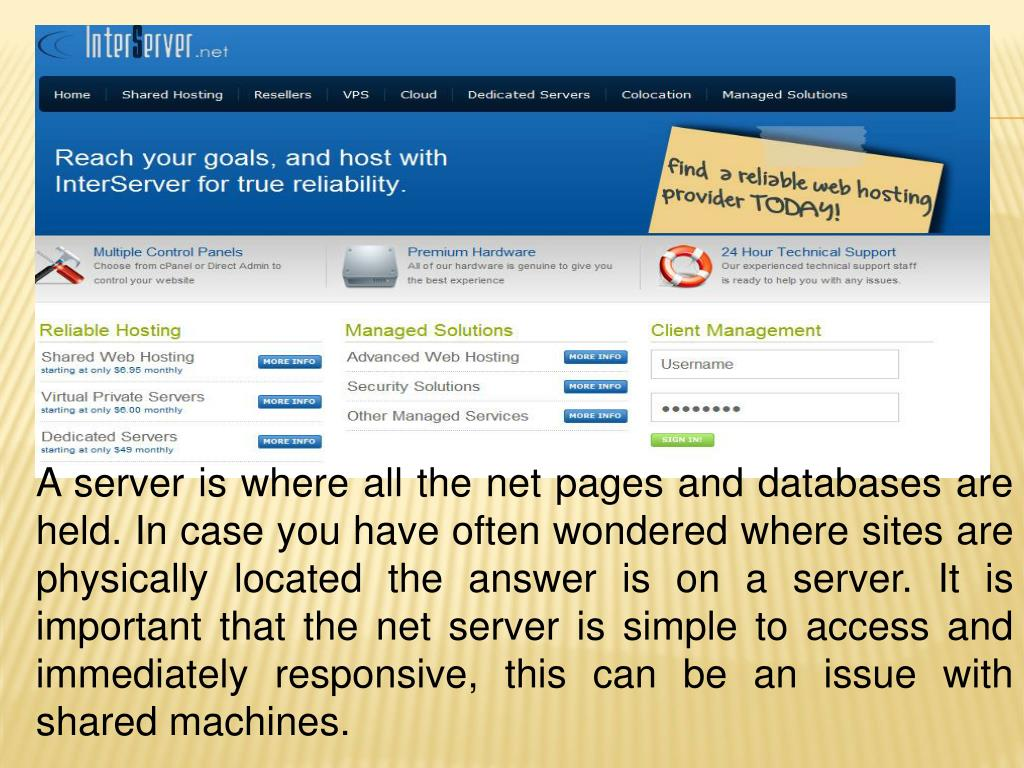 A server is where all the net pages and databases are held. In case you have often wondered where sites are physically located the answer is on a server. It is important that the net server is simple to access and immediately responsive, this can be an issue with shared machines.