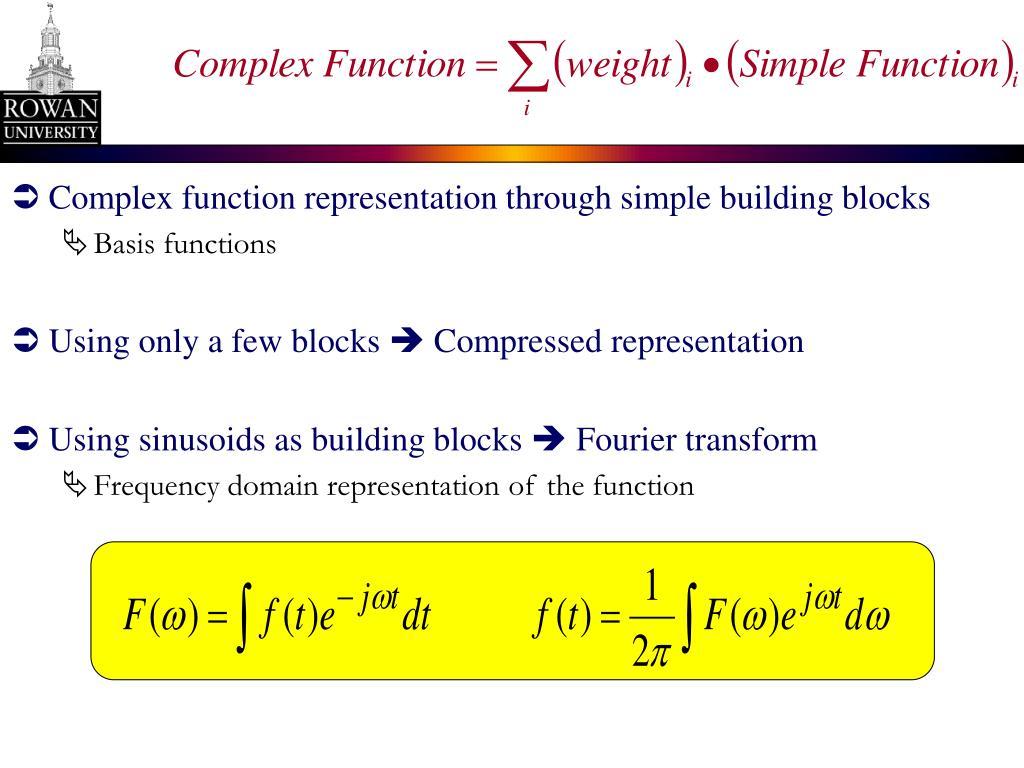 Complex function representation through simple building blocks