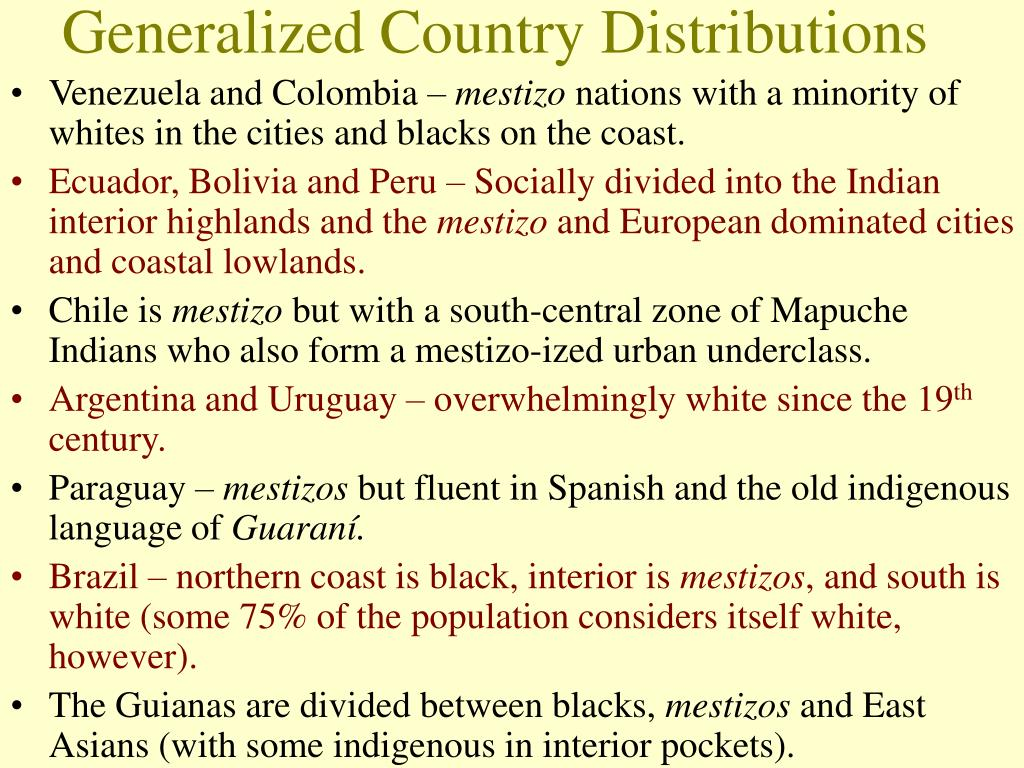 Generalized Country Distributions