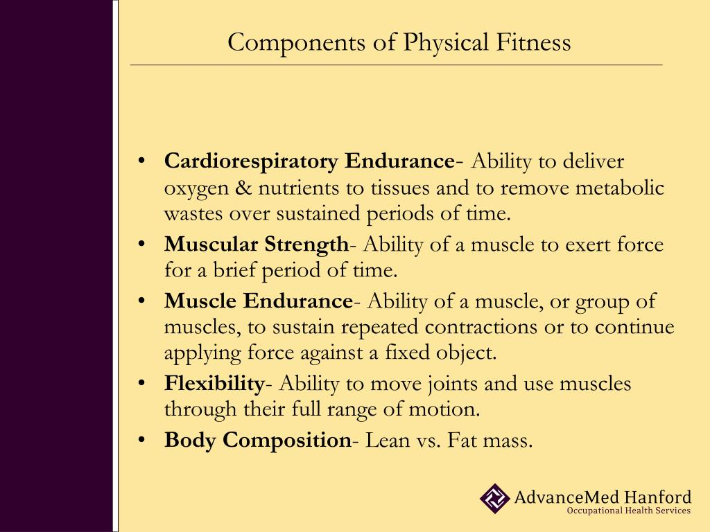 physical fitness components Components of fitness/definitions definitions & components of fitness what is physical activity physical activity is defined as bodily movement produced by skeletal muscles that.