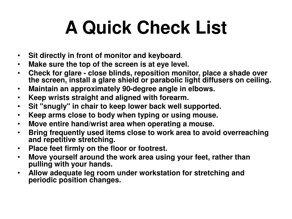 A Quick Check List