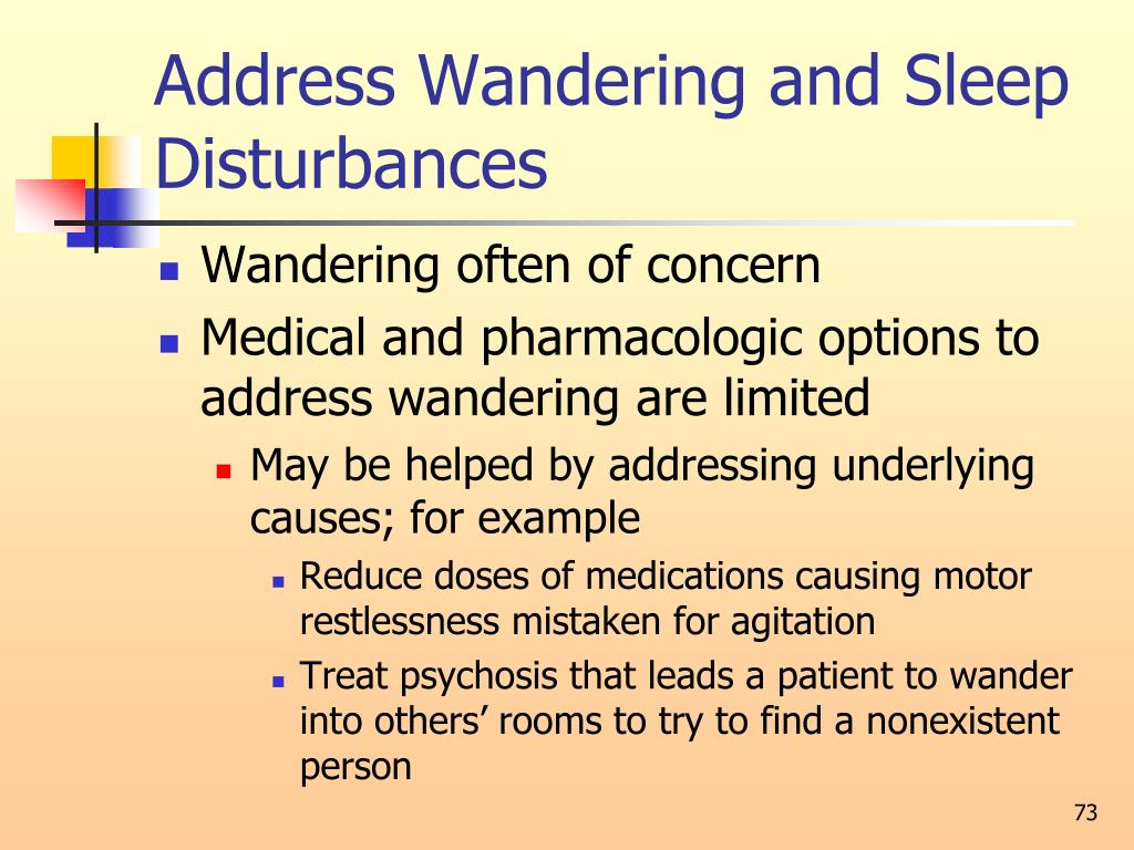 Address Wandering and Sleep Disturbances