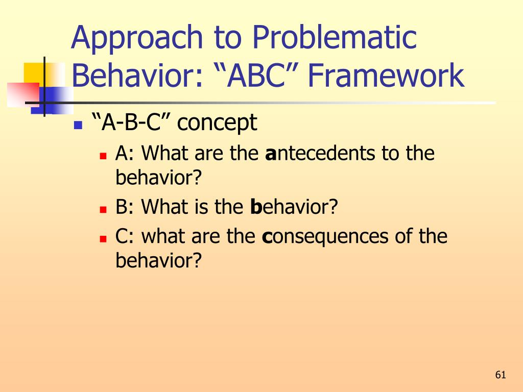 "Approach to Problematic Behavior: ""ABC"" Framework"