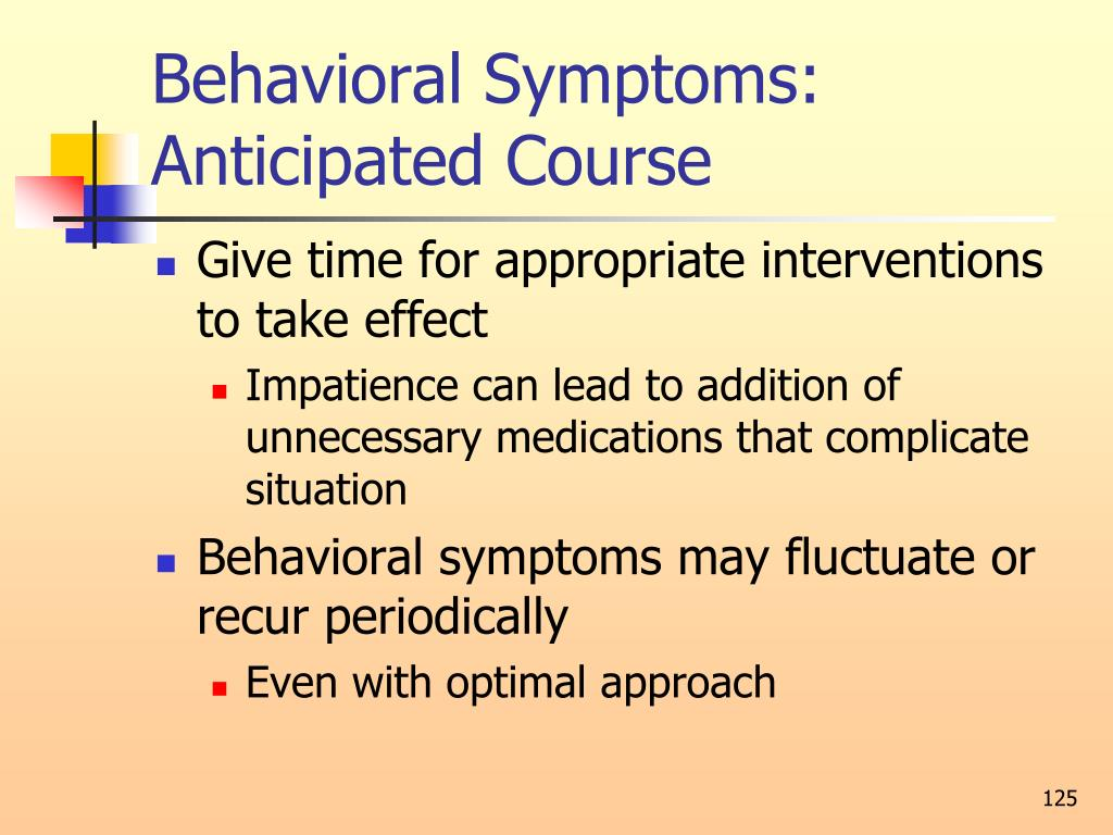 Behavioral Symptoms: Anticipated Course