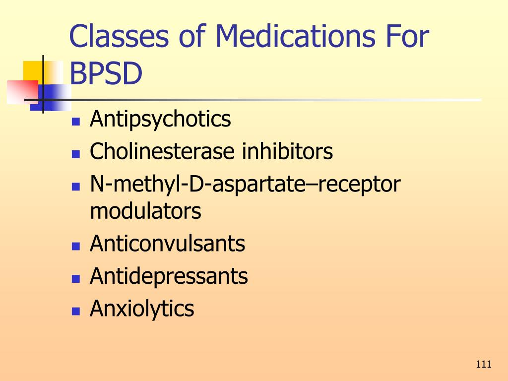Classes of Medications For BPSD