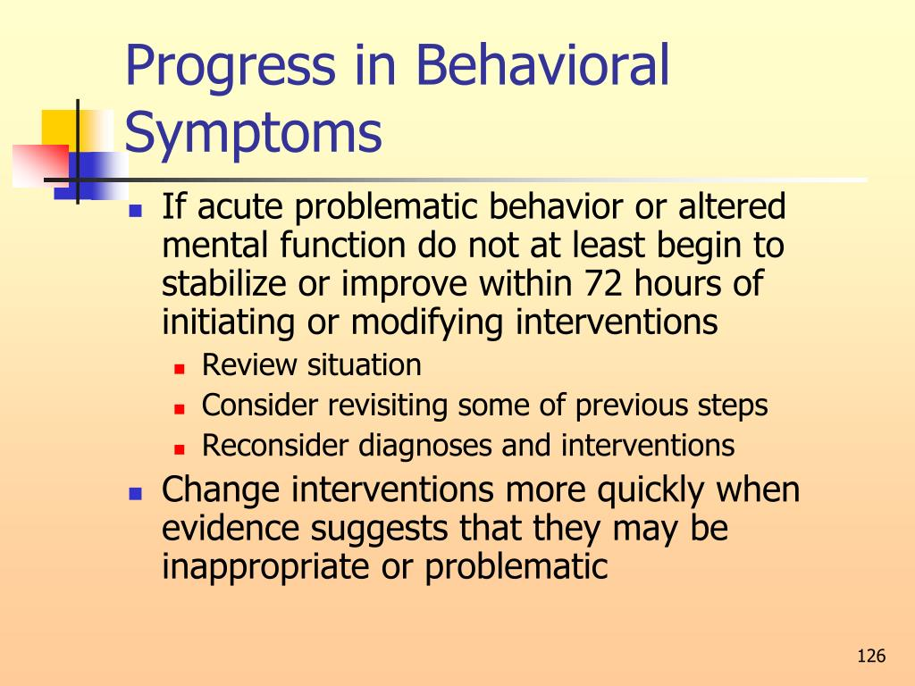 Progress in Behavioral Symptoms