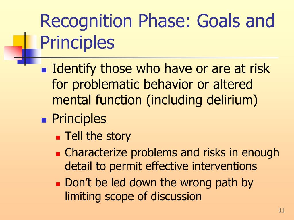 Recognition Phase: Goals and Principles