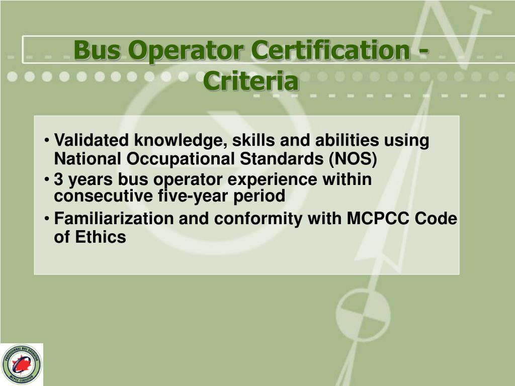 Bus Operator Certification - Criteria