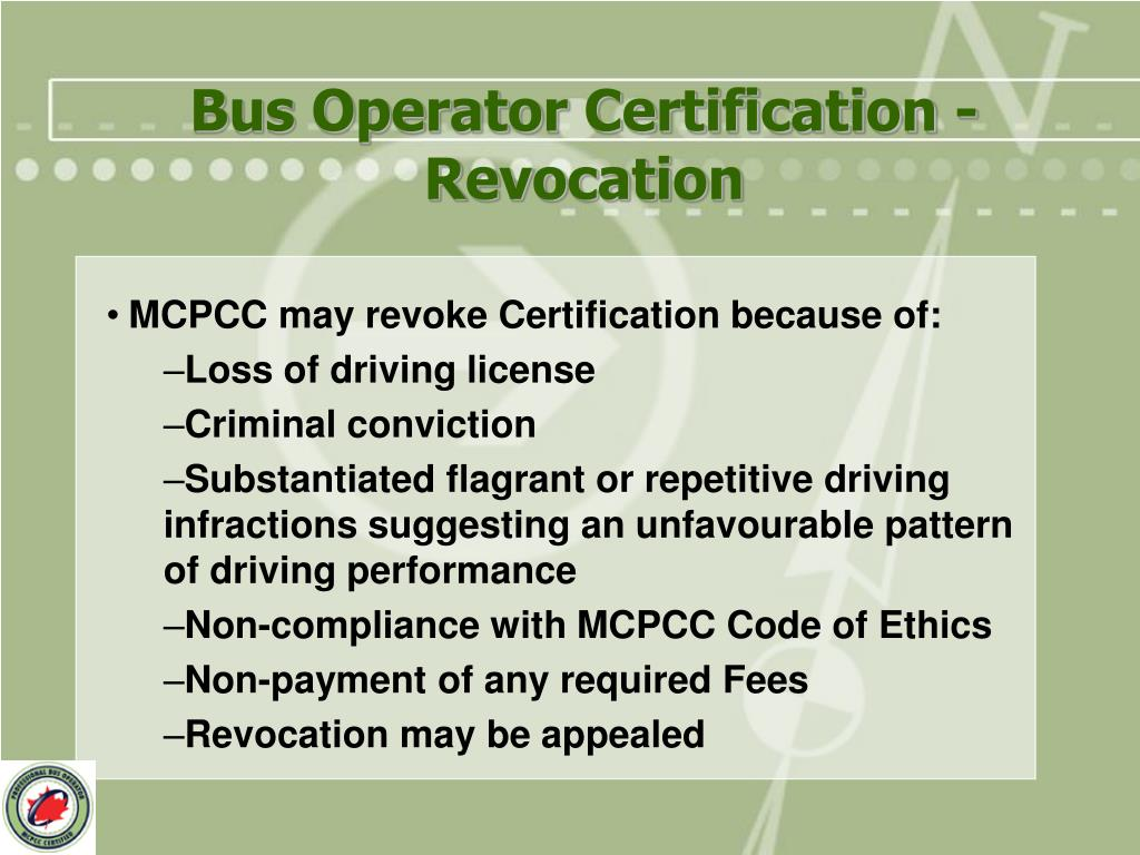 Bus Operator Certification - Revocation