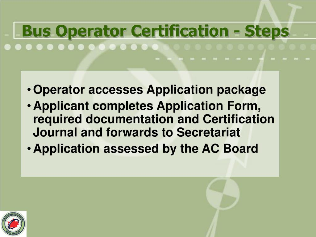 Bus Operator Certification - Steps