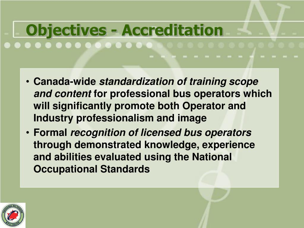Objectives - Accreditation