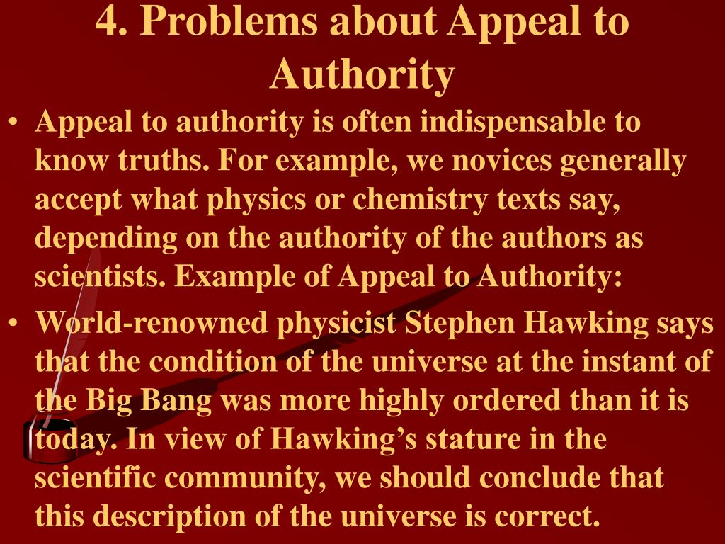 4. Problems about Appeal to Authority