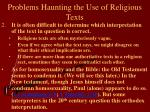 problems haunting the use of religious texts11