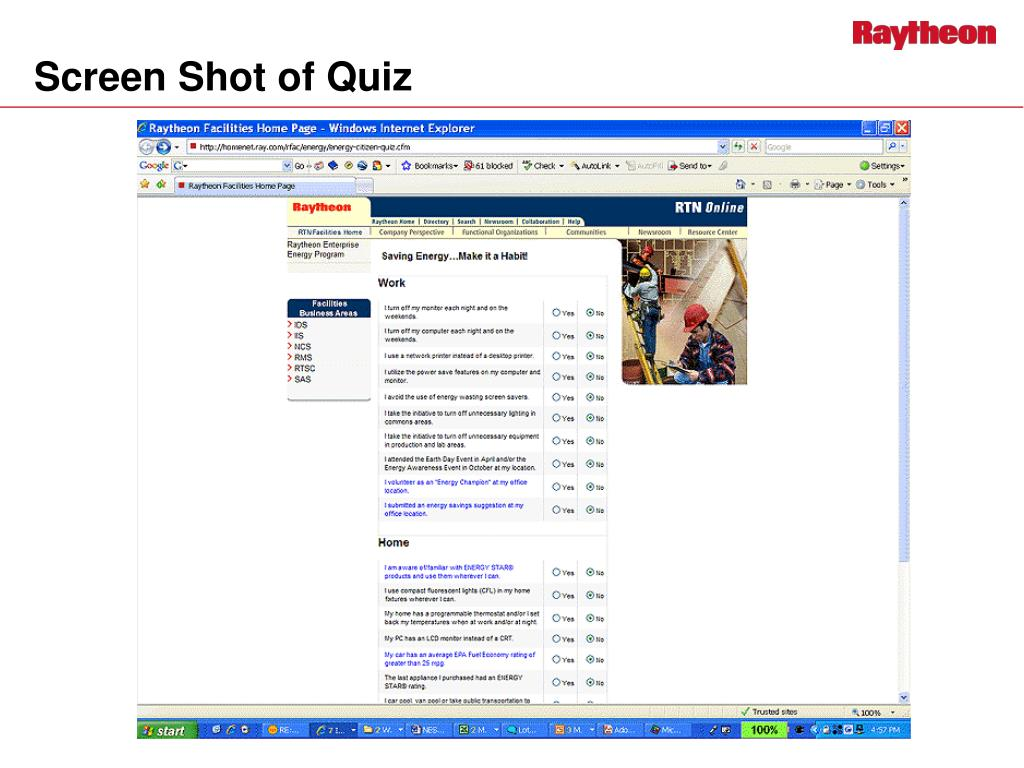 Screen Shot of Quiz