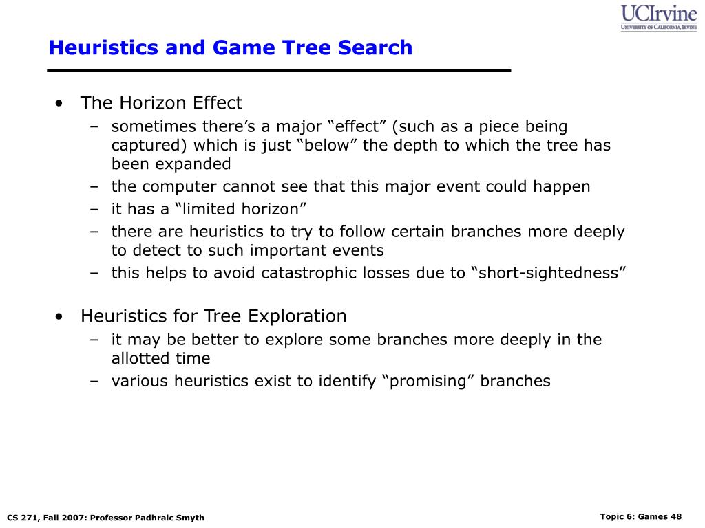Heuristics and Game Tree Search