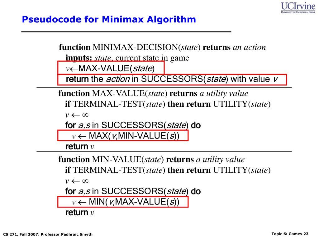 Pseudocode for Minimax Algorithm