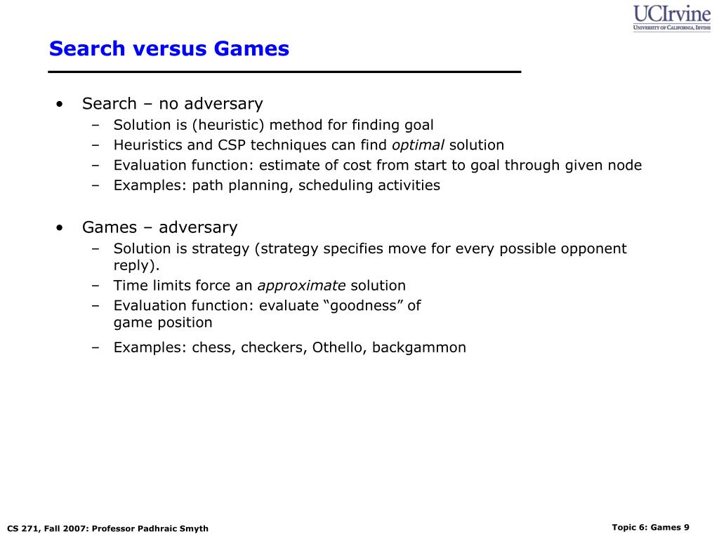 Search versus Games