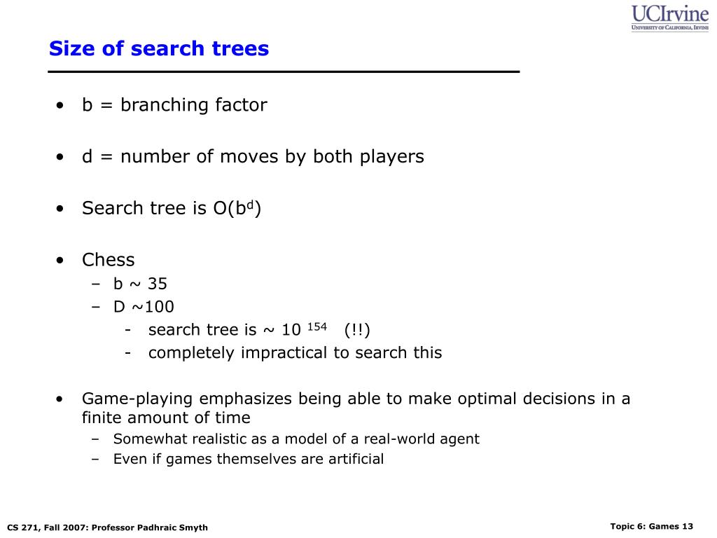 Size of search trees