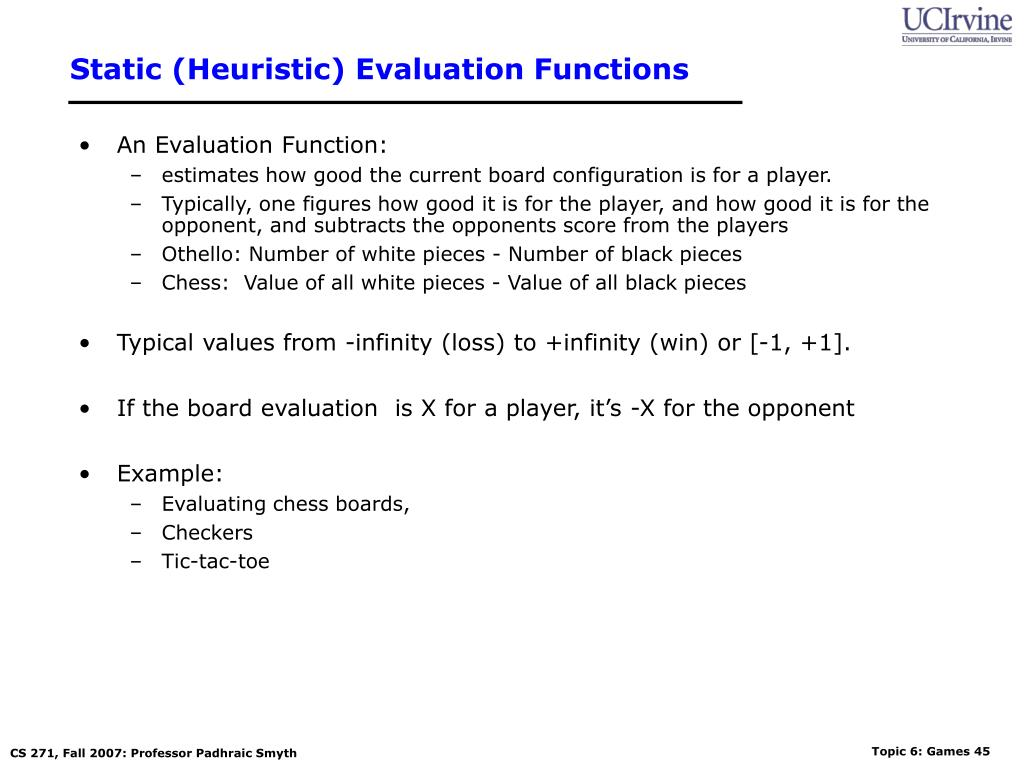 Static (Heuristic) Evaluation Functions
