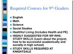required courses for 9 th graders