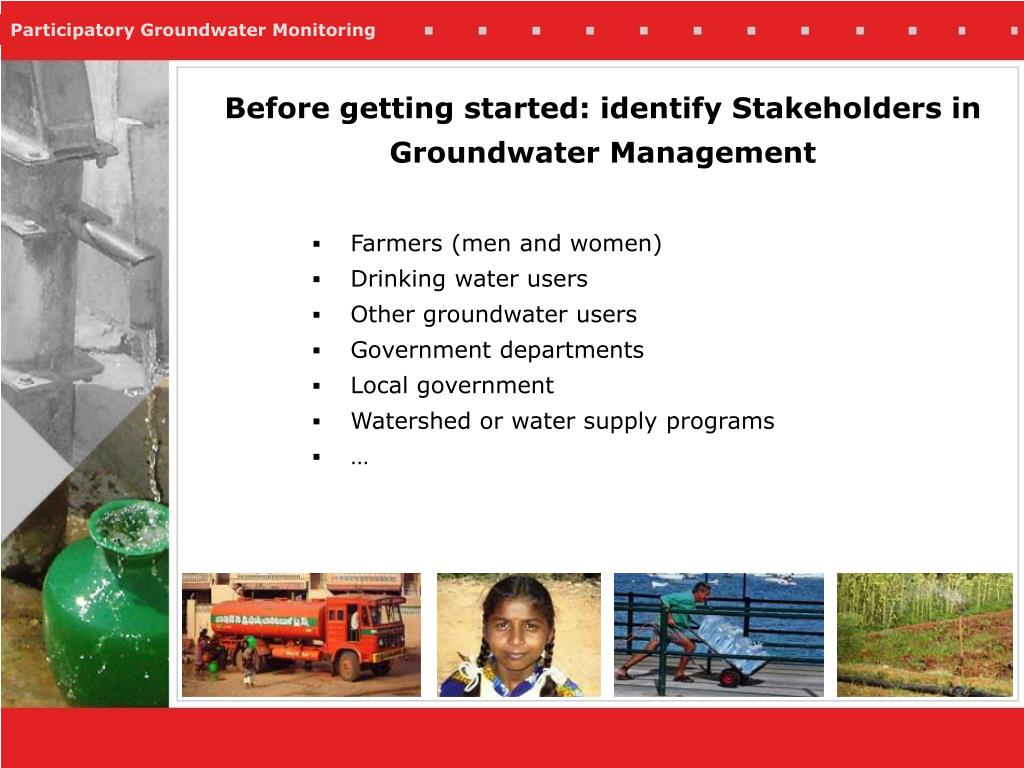 Before getting started: identify Stakeholders in Groundwater Management