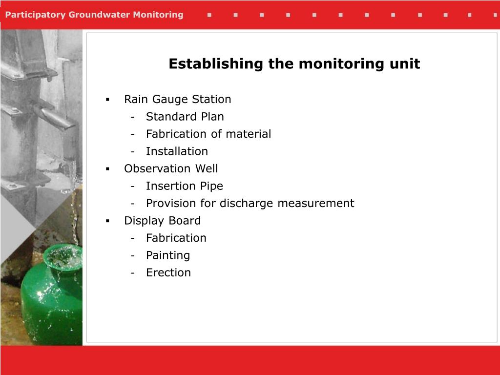Establishing the monitoring unit