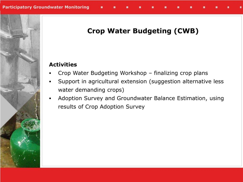 Crop Water Budgeting (CWB)