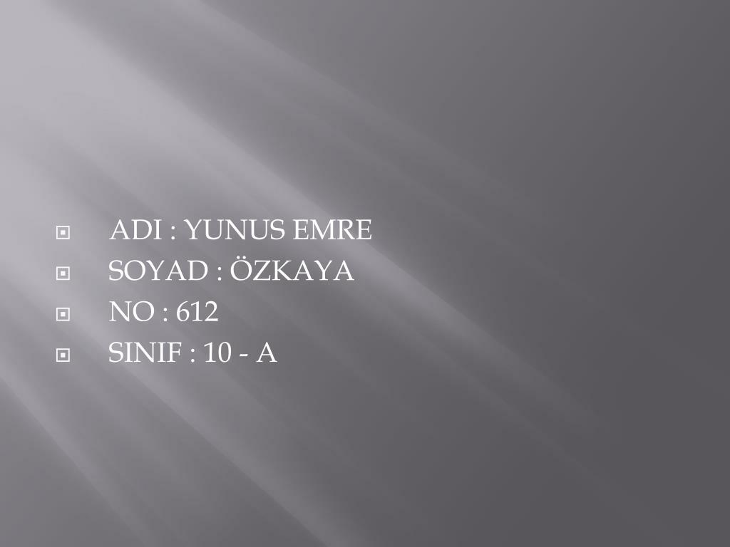 ADI : YUNUS EMRE