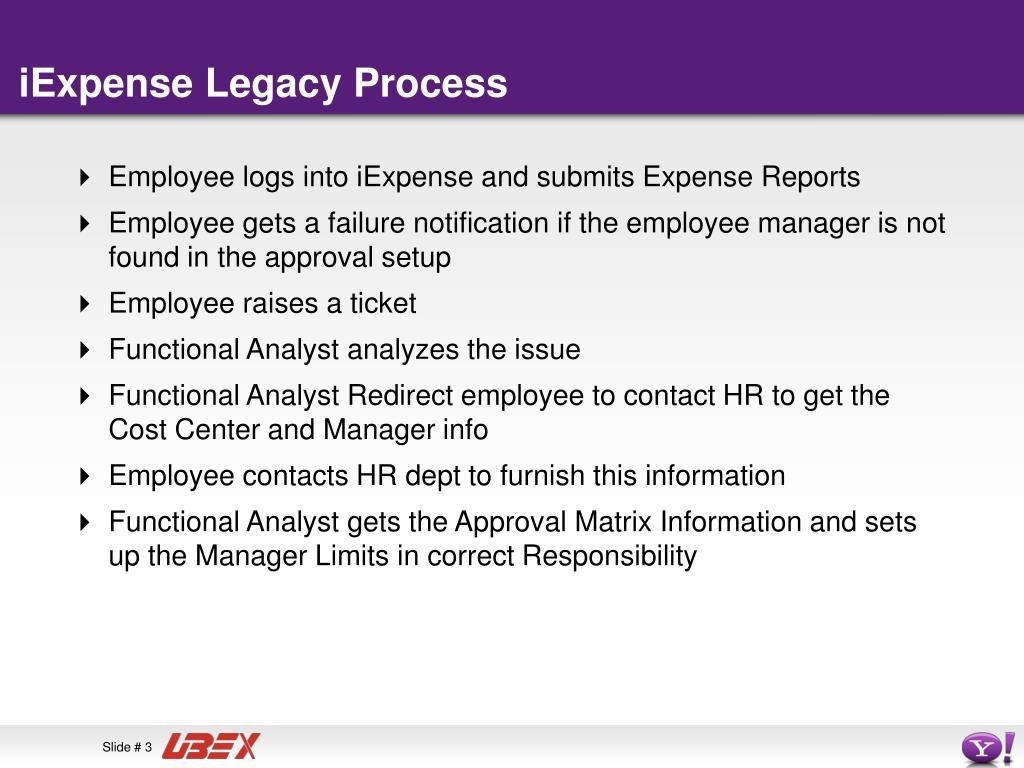 iExpense Legacy Process
