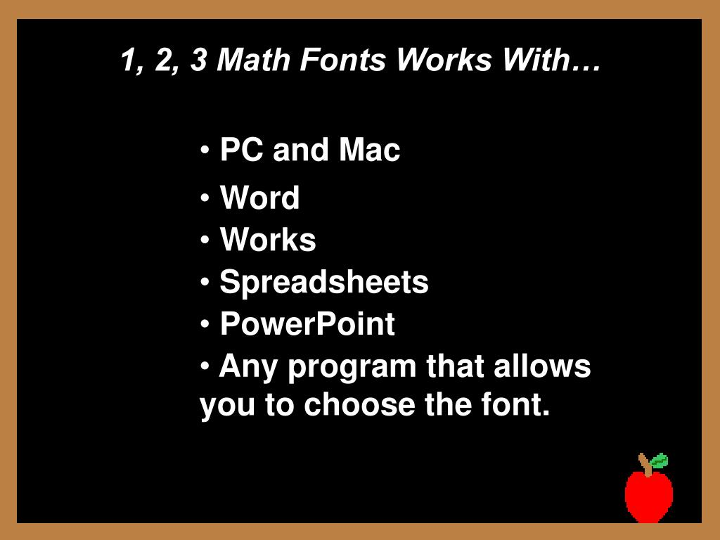 1, 2, 3 Math Fonts Works With…