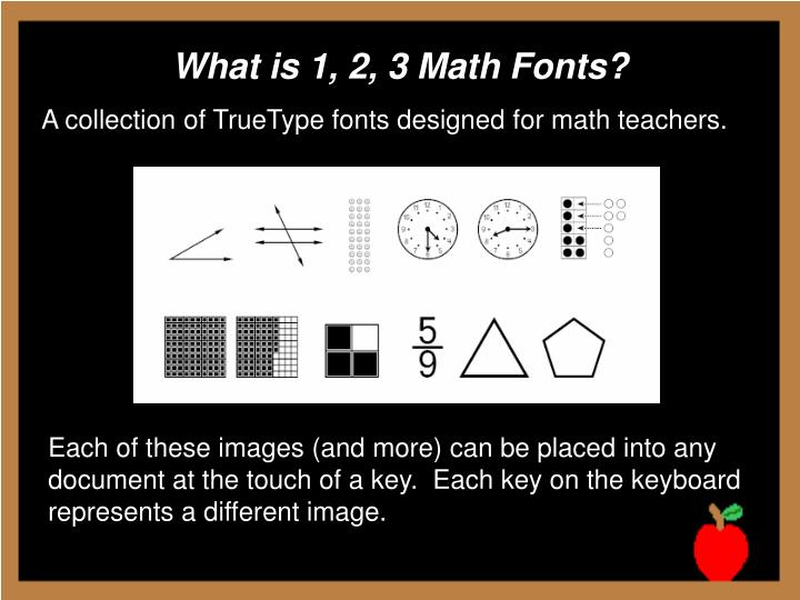 What is 1, 2, 3 Math Fonts?