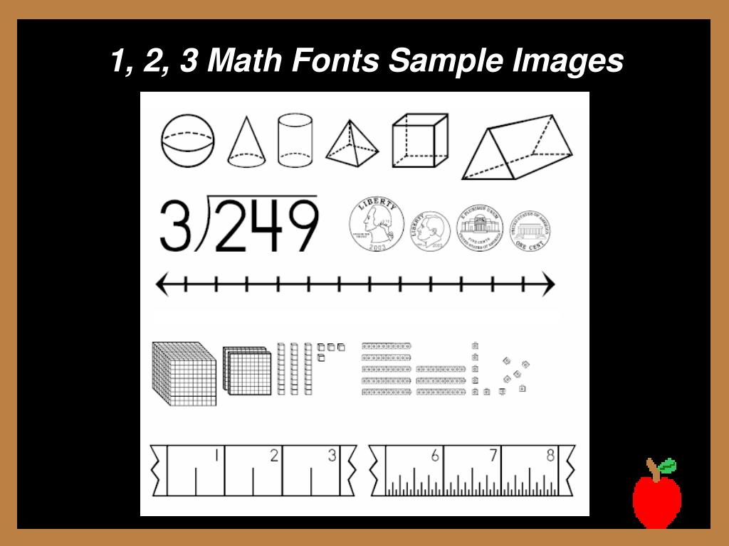 1, 2, 3 Math Fonts Sample Images