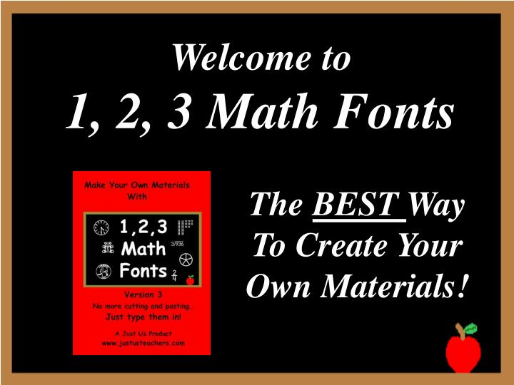 Welcome to 1 2 3 math fonts